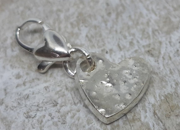 Ashes to Silver Memorial Heart Charm on a charm carrier