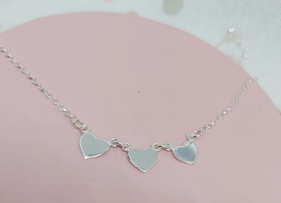 Delicate heart hand stamped linked necklace in Sterling Silver