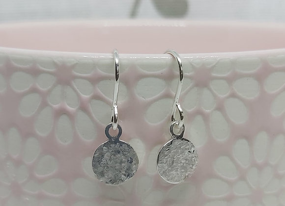 Hammered Textured Circle Disc Drop Earrings in Sterling Silver