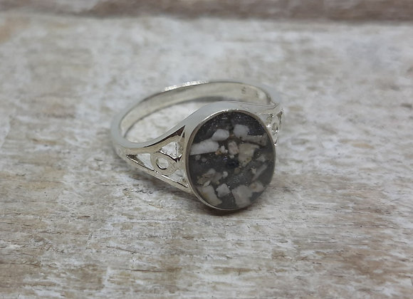 Sterling Silver Cremation ashes oval filagree band ring