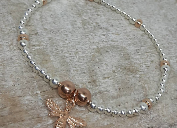 Benny&Moo rose gold Noodle bead bracelet with rose gold bee charm
