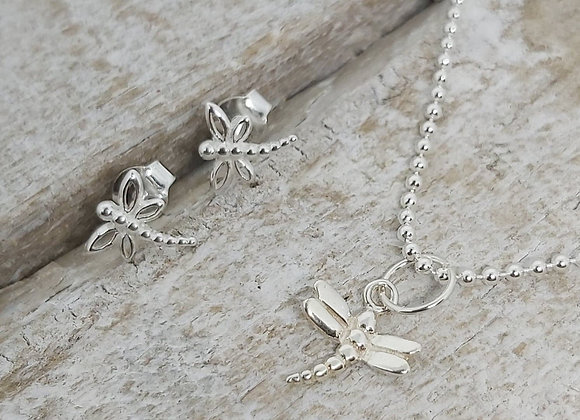 """BennyandMoo Dragonfly pendant and earrings set on 18"""" beaded chain"""