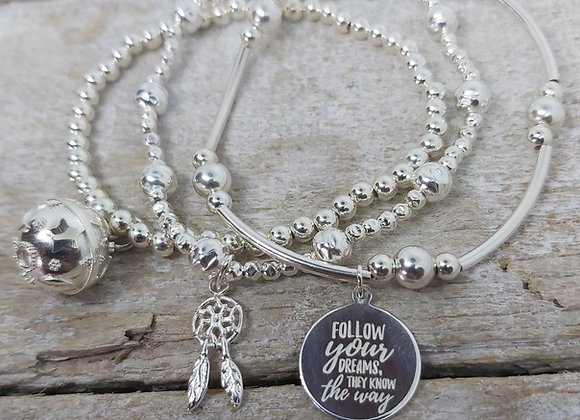 Benny&Moo 'Dream' sterling silver triple stacking set