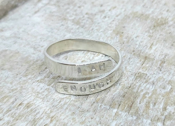 Sterling silver thumb ring. Adjustable hand stamped affirmation ring