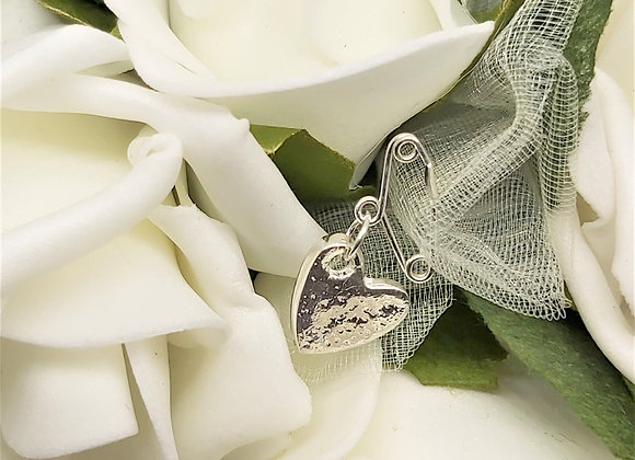 Ashes to Silver Memorial Heart on a sterling silver safety pin