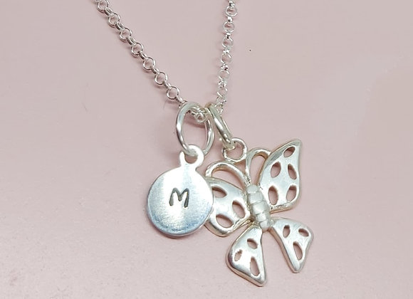 Butterfly and personalised initial necklace in sterling Silver