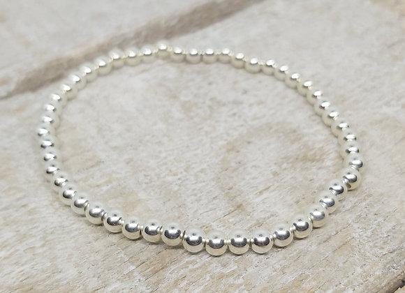 Benny&Moo round 4mm sterling silver beaded bracelet
