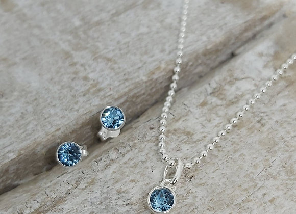 "BennyandMoo Birthstone pendant and earrings set on 18"" beaded chain"