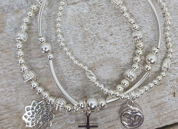 Benny&Moo 'Peace' sterling silver triple stacking set