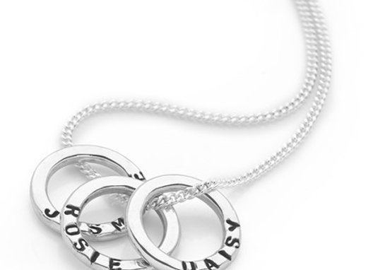 Personalised mini ring Sterling Silver hand stamped necklace