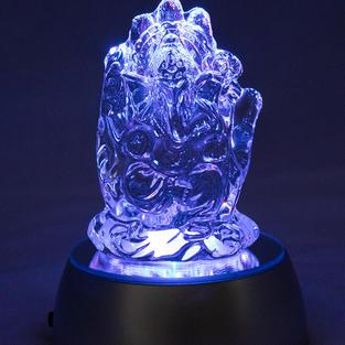 Glass Ganesha figure and light-up stand