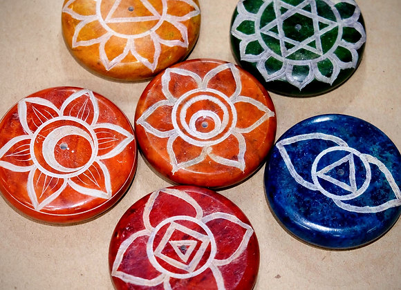 Chakra Hand Carved Round Soapstone Pebble