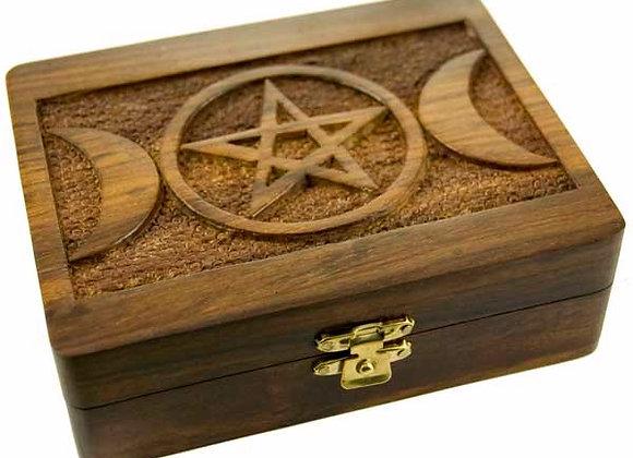 Triple Moon with Pentacle Trinket Box