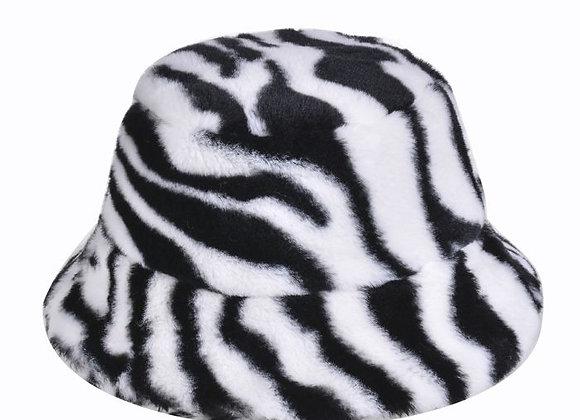 Fluffy Zebra Print Bucket Hat