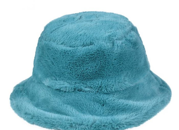 Fluffy Turquoise Bucket Hat