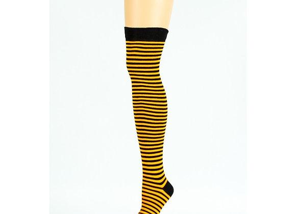 Orange & Black Over-the-Knee Socks