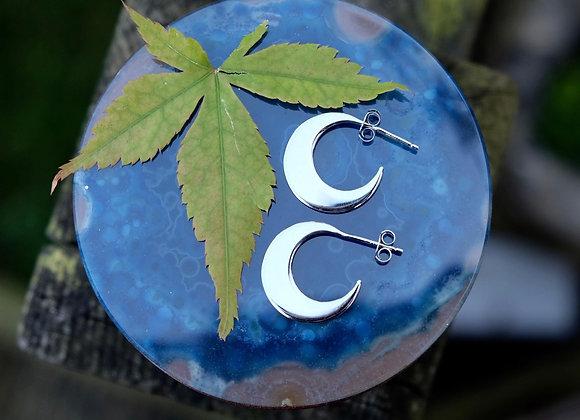 Crescent Moon Stud Hoops