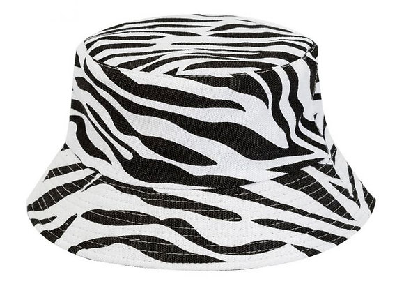 Zebra Print Canvas Bucket Hat
