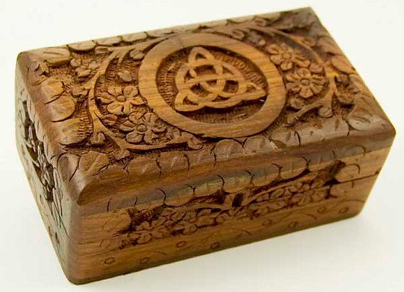 Carved Triquetra Wooden Box