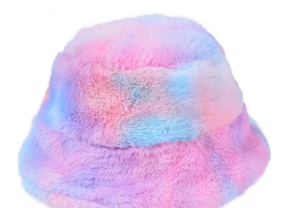 Fluffy Rainbow Bucket Hat