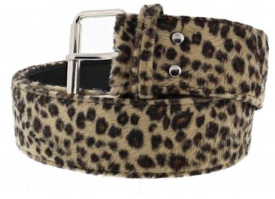 Chunky Leopard Print Faux Fur Belt
