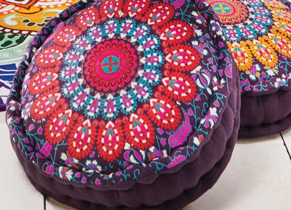 Peacock Print Filled Pouffe