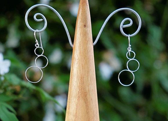 Three Circle Drop Earrings