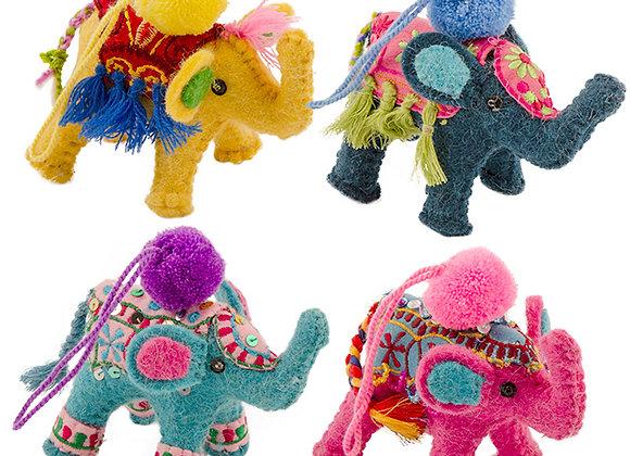 Felt Elephant Decoration With Pom Poms