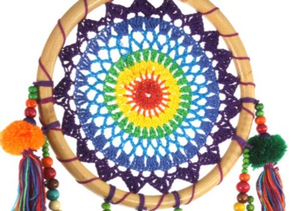 Crochet Rainbow Dreamcatcher with Beads