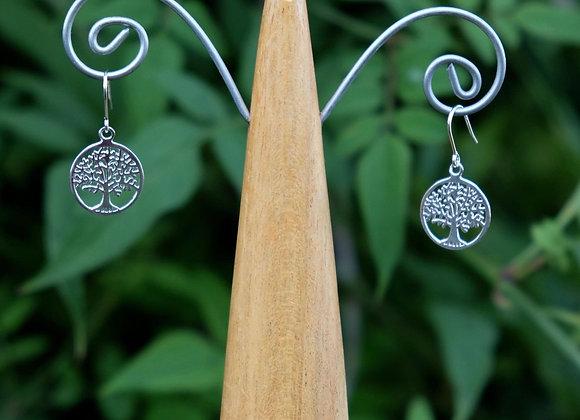 Tree Of Life Circle Drop Earrings