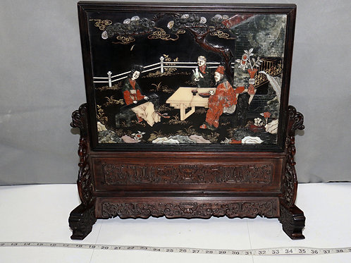 Hand Carved Chinese Soapstone Art - with Wooden Stand
