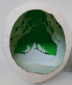 Wolves Paper Cut Sculpture