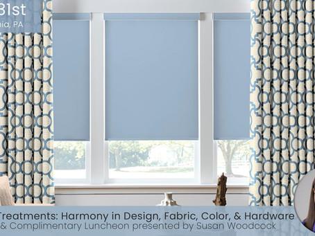 CEU Course in Philadelphia, PA: Window Treatment Harmony
