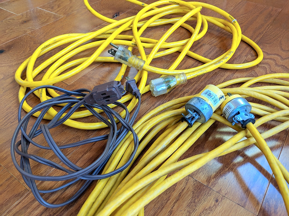 Use heavy duty cords for machines and irons, not small lamp cords.
