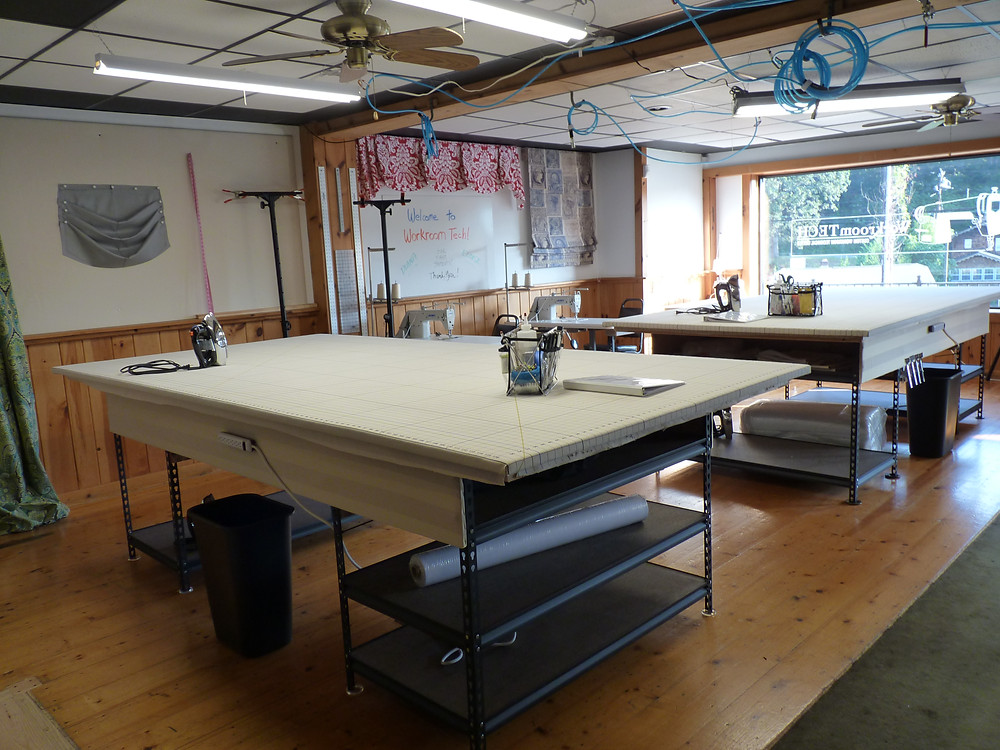 drapery workroom with 5' x 10' worktables