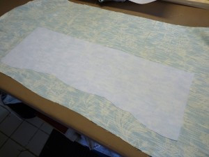 Apply fusible fleece to the fabric