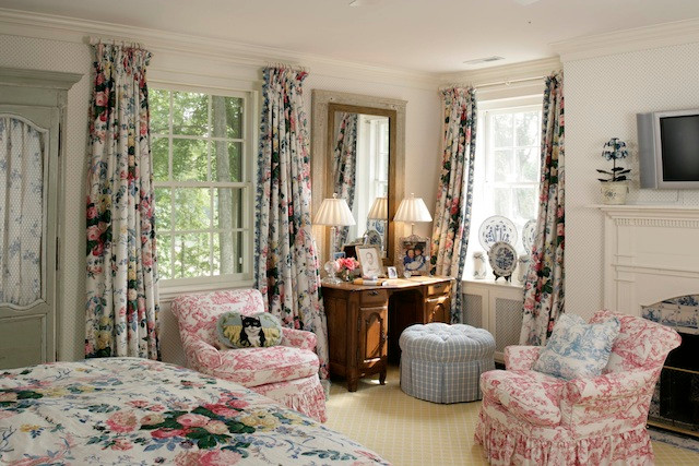 Floral Chintz Draperies with French Blackout