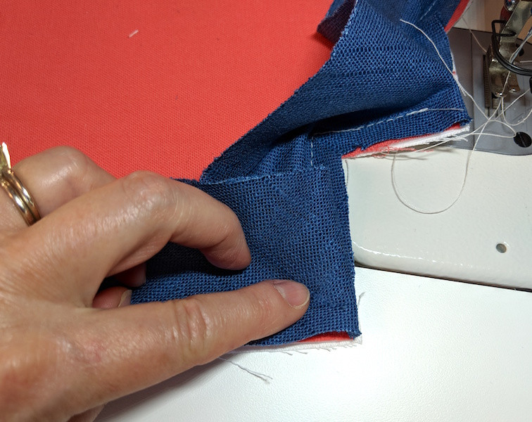 Sewing the corners