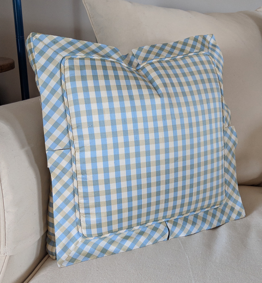 Silk pillow with inset flange.