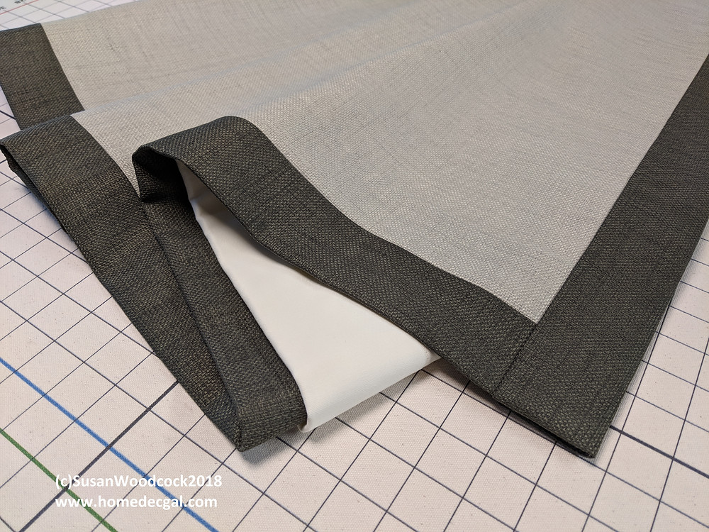 wrapped banding with a straight seam at the corner