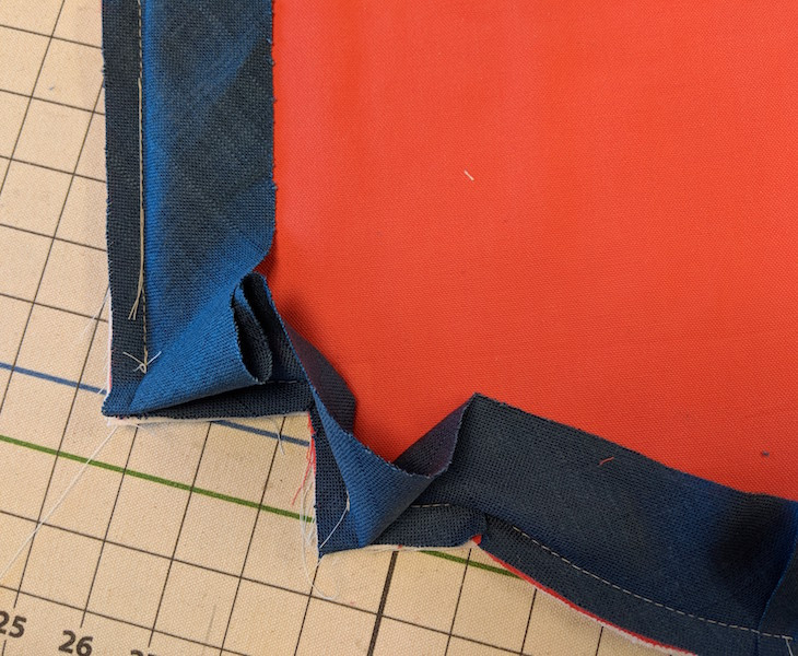 Banding is sewn to the front