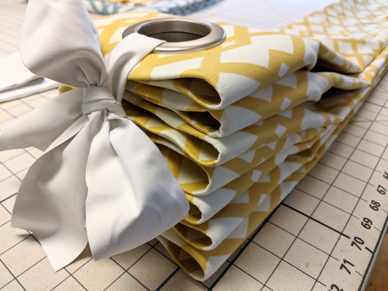 Grommet draperies are easy to fan fold