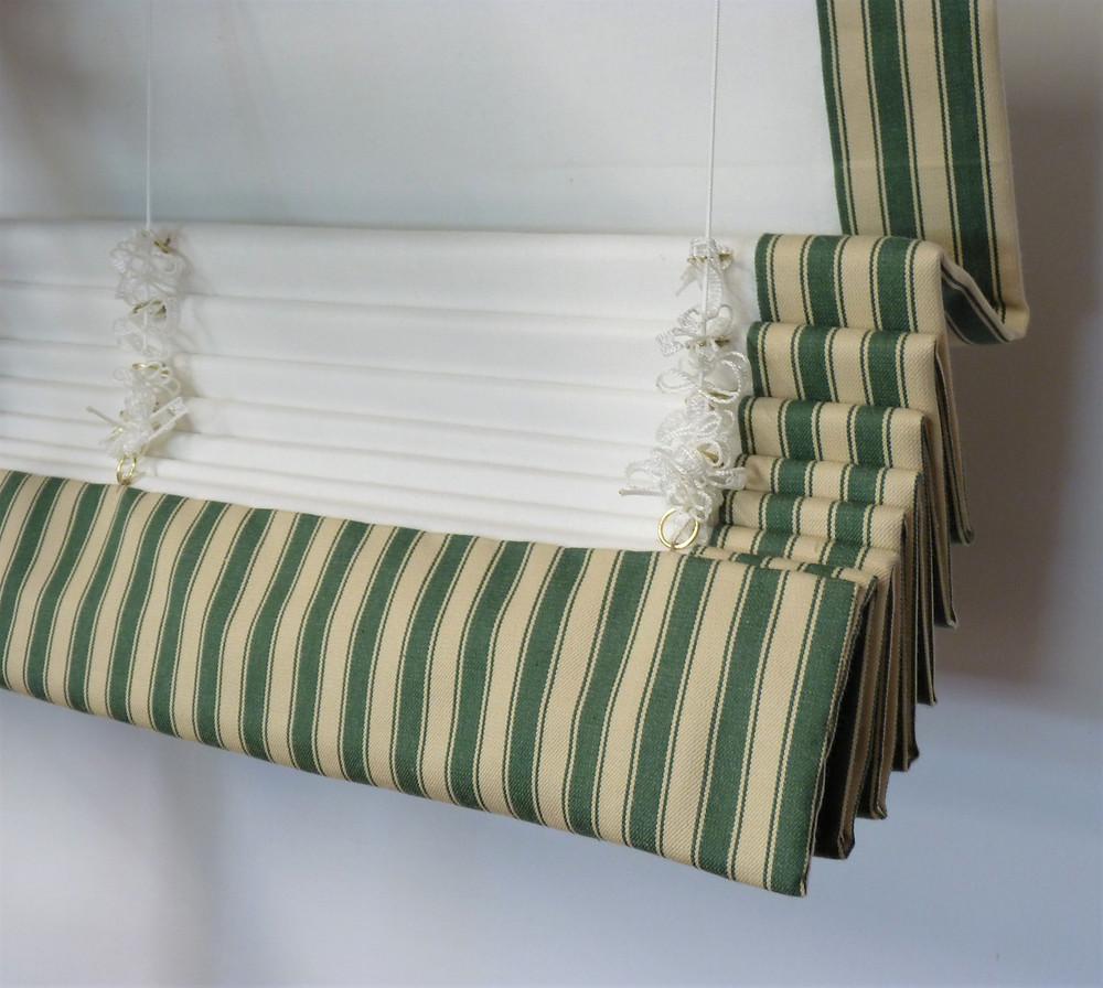 back side of the buckram fold Roman shade