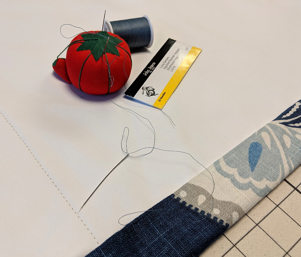 hand sewing side hems with Coats thread and John James needles