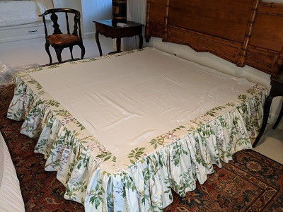 Gathered bed skirt installed on the box springs
