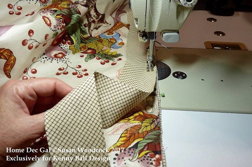 applying bias banding to the leading edge of a drapery