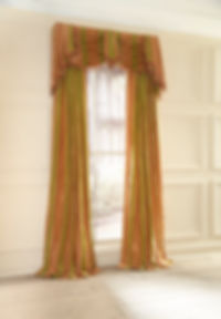 Elegant silk draperies with swags and jabots made my Susan Woodcock, Home Dec Gal.