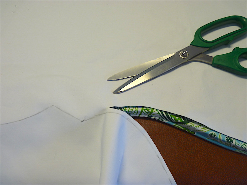 trim the lining above the line