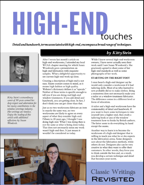 High End touches magazine article written by Kitty Stein