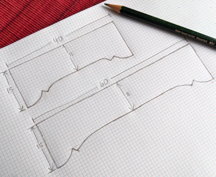 sketching cornice board designs to scale